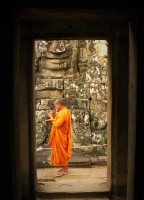 Monk at Bayon Temple, Cambodia